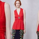 S Anthropologie Braid-Wrapped V-Neck Tee Small 2 4 Top Blouse Shirt Red Deletta