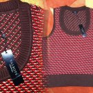 PM Talbots Vest Medium Petite Brown Red Tan Career Classic Sweater Knit Pullover