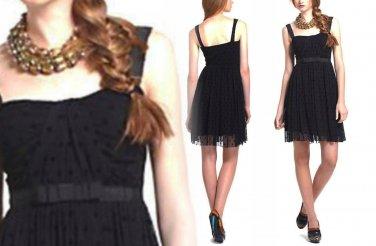 S Anthropologie Effervescent Dots Dress Small 2 4 Black Romantic Ribbon & Lace
