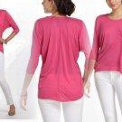 Anthropologie Silk-Spun Top Small 2 4 Shirt Tee Bright Pink Drape Blouse