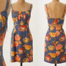 $158 Anthropologie Peony Slip Dress 8 Small Blue Motif Cut Out Back Cocktail