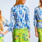 Anthropologie Blueberry Lime Cardigan Small 2 4 Cardi Blue & White Exposed Seams Light Summer