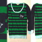 XL Anthropologie Cheri Monogrammed Pullover - A XLarge Green Striped 14 16 NWT