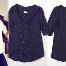 S Anthropologie French Knot Scoopneck Top Small 2 4 Tee Blouse Shirt Navy Blue Meadow Rue NWT