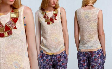 S Anthropologie Marigold Blush Lace Shell Small 2 4 6 $148 Top Shirt Blouse Gold