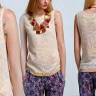 M Anthropologie Marigold Blush Lace Shell Medium 6 8 Gold Top Shirt Blouse