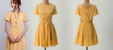 Anthropologie Mythography Mini Dress Yellow Large 10 12 $194 by Treasure