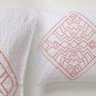 Anthropologie Corin Euro Sham White Cotton Percale Orange Chevron Embroidery NIP