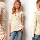 Anthropologie Skewed Cable Pullover Medium 6 8 Top Ivory Sweater Yellow Bird