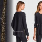 $338 M Eileen Fisher Fine Merino Jersey Micro Sequins Sweater Medium 6 8 Charcoal