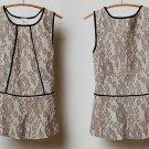 Anthropologie Piped Peplum Blouse Lace Top Medium 6 8 Neutral Weston Wear USA