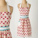 Anthropologie Ripened Radish Apron Red Print Mother Gift Hostess Cotton Vintage Look