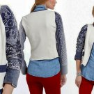 M Anthropologie Abstract Batik Moto Jacket Medium 6 8 Blue Motif $298 Handmade