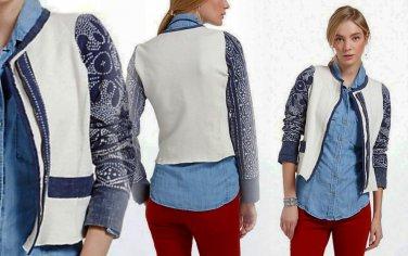 M Anthropologie Abstract Batik Moto Jacket Medium 6 8 Blue Motif $298 Handmade