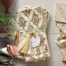 4 Pcs Anthropologie Arbor Floret Cocktail Napkins Ivory & Gold Foil-printed cotton