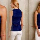 Anthropologie Eiffel Tank XLarge 14 16 Blue Motif Stripes Cotton French Design