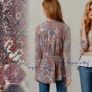 Anthropologie Zaha Ruffled Cardigan Medium 6 8 Multi Colors Weston Wear USA