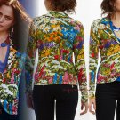 Anthropologie Ajuda Sweater Blazer XSmall 0 2 Mult-color Motif Happy Cheerful Monogram