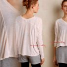 Anthropologie Draped Studio Pullover Medium 6 8 Pink $108 Loose Swingy Workout Top