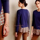 Anthropologie Skirted Plaid Pullover Small 2 4 Blue Motif Everleigh SOFT COMFY UNIQUE