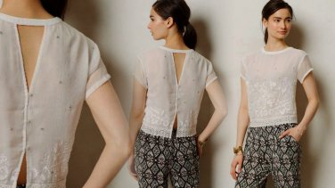 S Anthropologie Embroidered Heirloom Tee Small 2 4 Top Shirt Blouse White Vanessa Virgina $148