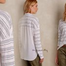 Anthropologie Skirted Stripe Buttondown Top Small 2 4 Grey Tee Shirt Fabric