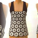 Anthropologie Kaneohe Tank Small 2 4 Top Brown & White Crochet Knitted & Knotted