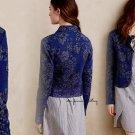 Anthropologie Evening Petals Jacket XSmall 0 2 Blue Motif Lace Hem