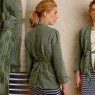 Anthropologie Woven Linen Jacket Large 10 12 Moss Green Breathable Thin Fabric
