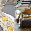Anthropologie Stitched Sitara Twin Quilt Grey Screen Printed Indian Inspired