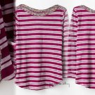 Anthropologie Laurelwood Boatneck Top Small 2 4 Tee Purple & White Striped Motif
