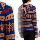 Anthropologie Fairisle Hooded Sweater XSmall 0 2 Blue Motif Sparrow