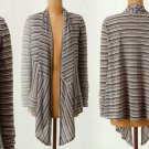 Anthropologie Cardigan Small 2 4 Black White Charcoal Striped Channels Sweater S