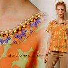 Anthropologie Kesari Top Small 2 4 Orange Motif Blouse Shirt