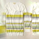 XS Anthropologie Cheri Monogrammed Pullover - D XSmall Green Striped 0 2