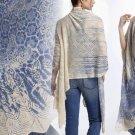 Anthropologie Wrap Sweater Small Medium Ivory & Blue GORGEOUS Knit Delft UNIQUE