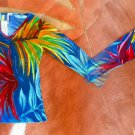 Top Small 2 4 Tropical Multi Color Sparkles Colorful Stretchy Cotton Blouse Tee
