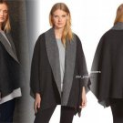 Eileen Fisher Double Face Alpaca Blend Poncho Small Medium 2 4 6 8 Charcoal