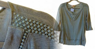 Anthropologie Fianna Pullover Large 10 12 Moss Green Linen by Twig & Perch