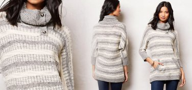 Anthropologie Glissando Sweater Tunic Medium 6 8 Neutral Motif Top Sweater