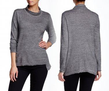 $143 White + Warren Side Slit Mock Neck Sweater Iron Heather XSmall 0 2 Top NWT