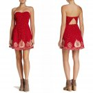 $250 Free People Very Merry Dress 6 Red Combo Embroidered Strapless