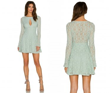 $128 Free People Lace Teen Witch Fit & Flare Dress Small 2 4 Foam Green