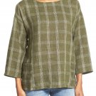 $218 Eileen Fisher Plaid Organic Linen Bateau Neck Top Large 10 12 Oregano Green