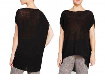 $238 Eileen Fisher Linen Blend Bateau Neck Tunic Small 6 8 Black Polished Linen Rib