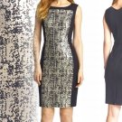 Classiques Entier Geneva Jacquard Sheath 8 Medium Black Gold Dress $328 Color Block