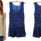 Anthropologie Emilia Peplum Top Medium 6 8 Blue Lace Swingy Tank Blouse Shirt NWT