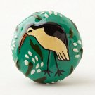 Anthropologie Avian Knob Green Flowers Bird Ashley Longshore Oversized