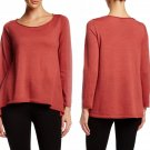 $198 Eileen Fisher Ballet Neck Merino Wool Sweater Large 10 12 Chutney Hiigh-low Hem