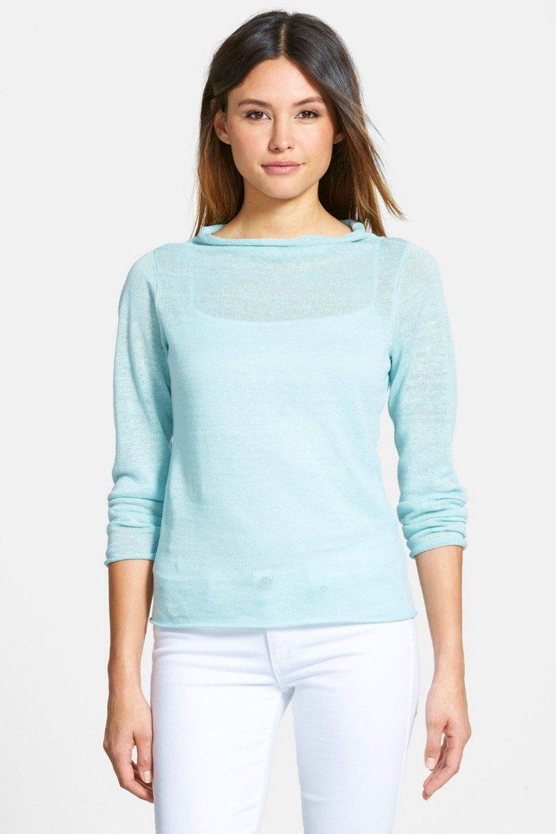 $158 Eileen Fisher Bateau Neck Slubbed Organic Linen Sweater Large 10 12 Dewberyr